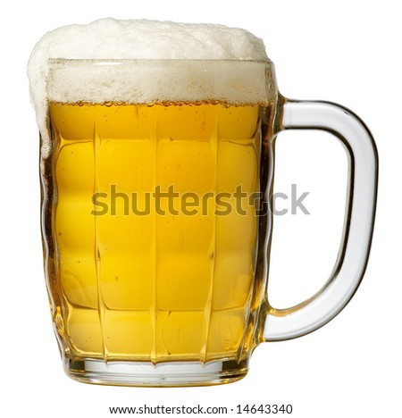 Big mug full of beer with froth isolated on white with clipping path. - stock photo
