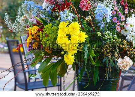 Big multicolor wonderful flowers bouquet on spring park - stock photo