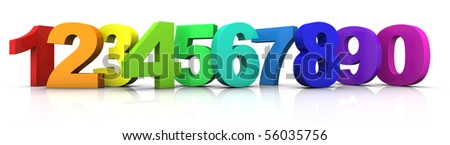 big multicolored 3d numbers from 1 to 9 plus 0 standing in a row - 3d rendering/illustration