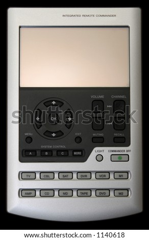 Big multifunction remote isolated on black with clipping paths