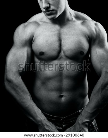 Big muscular man with powerful body - stock photo