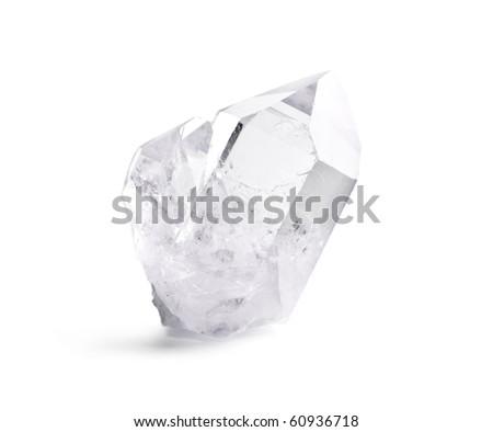 Big natural double quartz crystal isolated on white. - stock photo