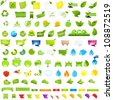 Big Nature And Eco Set With Labels, Isolated On White Background - stock vector