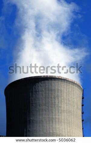 Big nuclear plant smokestack - stock photo