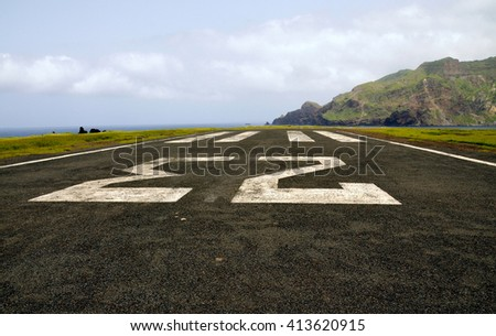 Big number 23 on an abandoned airport runway on the island of Brava, Cabo Verde