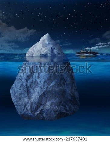 Big ocean liner ship about to hit floating iceberg - stock photo