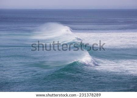 Big ocean wave in Bali, Indonesia - stock photo