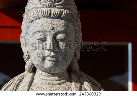 Big of god guanyin statue in China temple. Many people prayed the god in Chinese new years day - stock photo