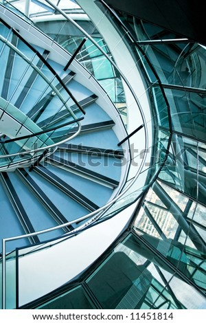 Big office building stairway curve with windows - stock photo