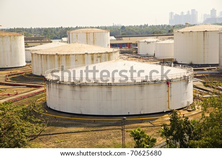 big oil tanks and pipes