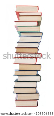 Big old book pile isolated on white background - stock photo