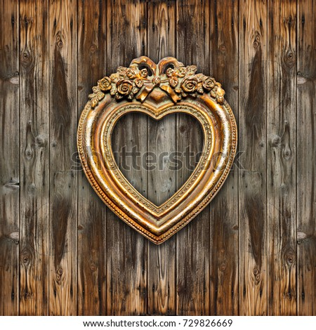 Big Old Gold Picture Frame - heart shape
