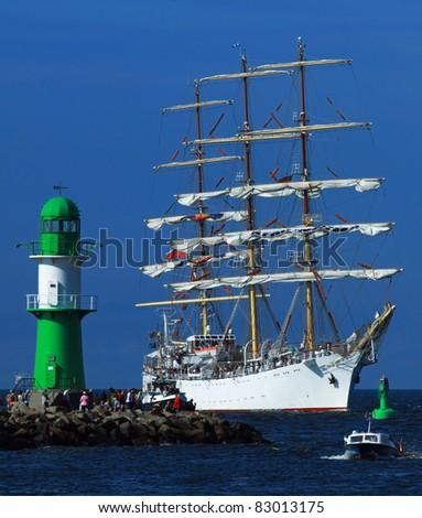 Big old Sailing Ship in Warnemünde (Mecklenburg-Vorpommern, Germany) 02 - stock photo