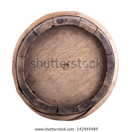 Big old wine barrel, isolated on white background - stock photo