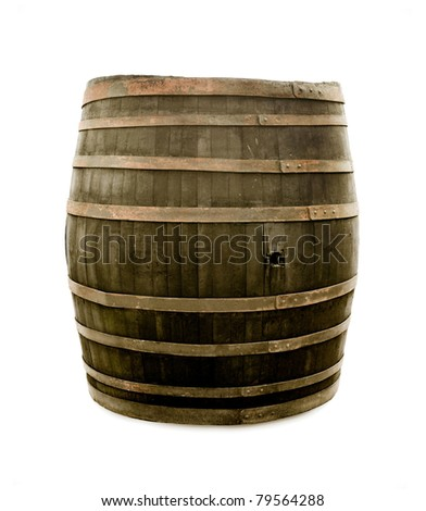 Big old wine barrel, isolated on white background - stock photo