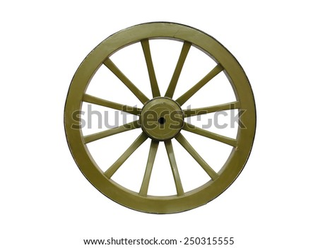 Big old wooden green wheel on white background. Isolated with clipping path - stock photo