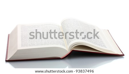 Big open book isolated on white - stock photo
