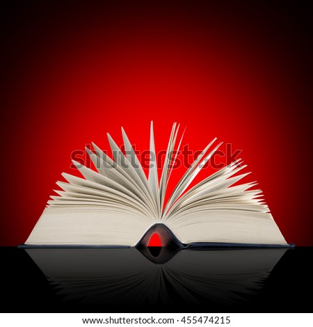 Big open book on red shaded background. - stock photo
