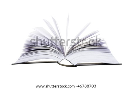 Big open book with pages flipping isolated on white background