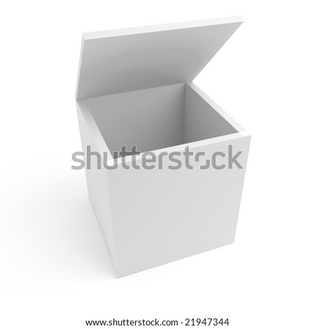 big open cardboard box on a white background