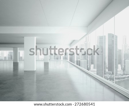 Big open space interior. 3d render - stock photo