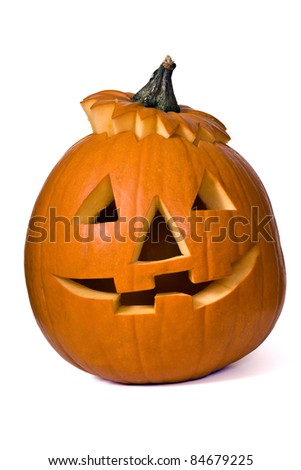 Big orange Halloween Pumpkin on a white background. - stock photo