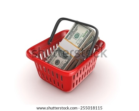 Big pack of dollars in a colourful plastic basket. - stock photo