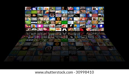 Big panel of TV's showing movies - All used images belongs to me