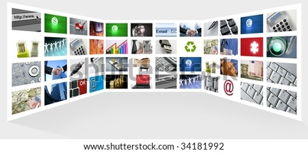 Big Panel of TV screen showing business tech and internet communication - stock photo