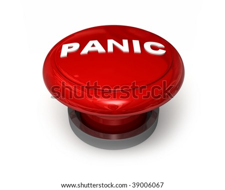Big panic button with raised text isolated on white