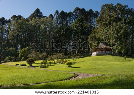 big park with gazebo - stock photo