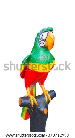 Big Parrot on white background., Isolated parrot mold., The parrot on stick.