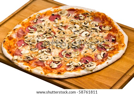 Big Party Pizza salami,mushrooms and vegetable-isolated on white ,Shallow depth-of-field