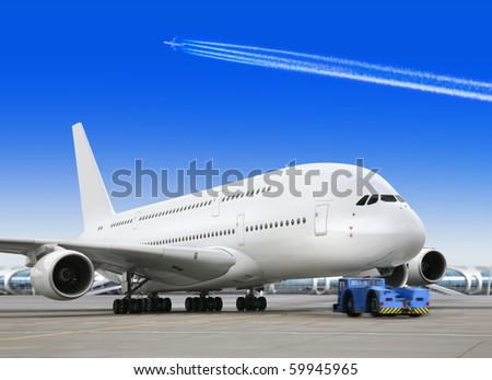 big passenger airplane is waiting for departure in airport - stock photo