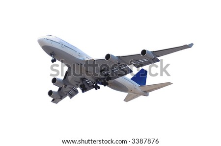 Big passenger airplane isolated on white background - stock photo