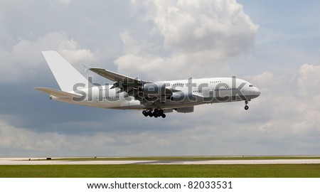 Big passenger jet landing - stock photo