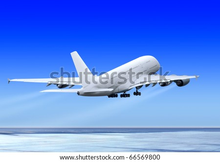 big passenger plane is flying up from runway of airport - stock photo