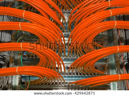Big patch panel for Network and Cloud Service in a datacenter - stock photo