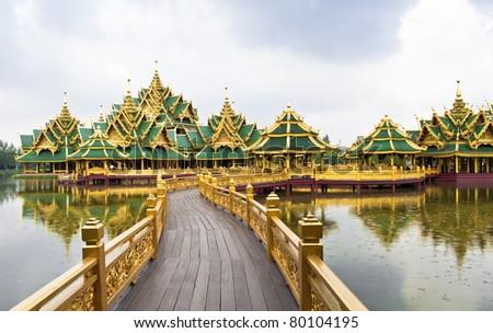 Big pavilion on water - stock photo
