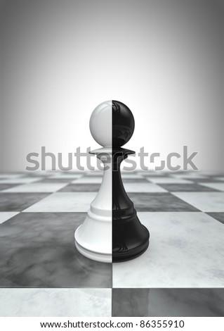 Big pawn black and white - stock photo