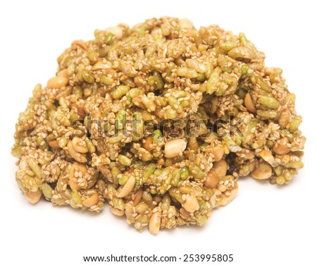 big piece of brittle isolated on white backgound - stock photo