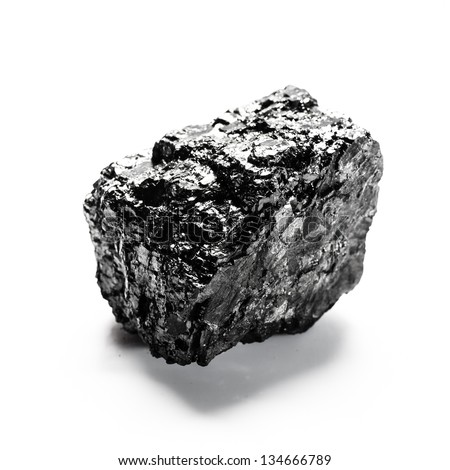 Big piece of coal isolated on white background - stock photo