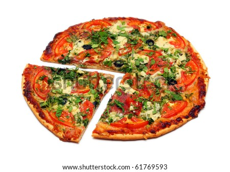 big piece of pizza isolated on white - stock photo