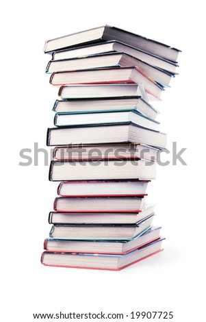 big pile of books isolated - stock photo