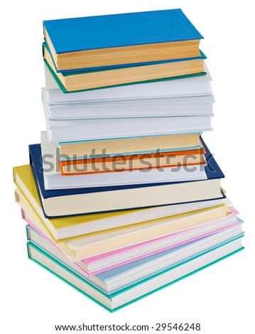 Big pile of books isolated on a white background - stock photo