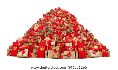 Big pile of Christmas gifts isolated on white background. Mountain of Xmas boxes. Many Christmas packages on a pile. Red and gold gifts.