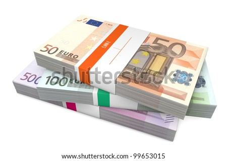 big pile of euro banknotes from 50 to 500 Euros with wrapper / banderole - stock photo