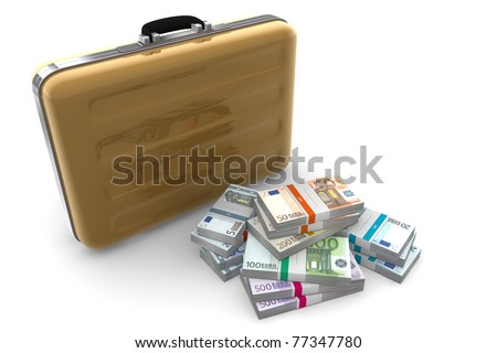 big pile of euro banknotes with wrapper / banderole next to a golden briefcase - stock photo