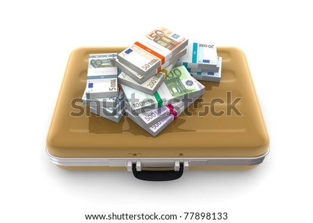 big pile of euro banknotes with wrapper / banderole on top of a golden briefcase - stock photo