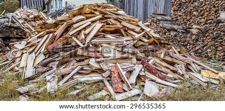 Big pile of firewood. Can be used as background